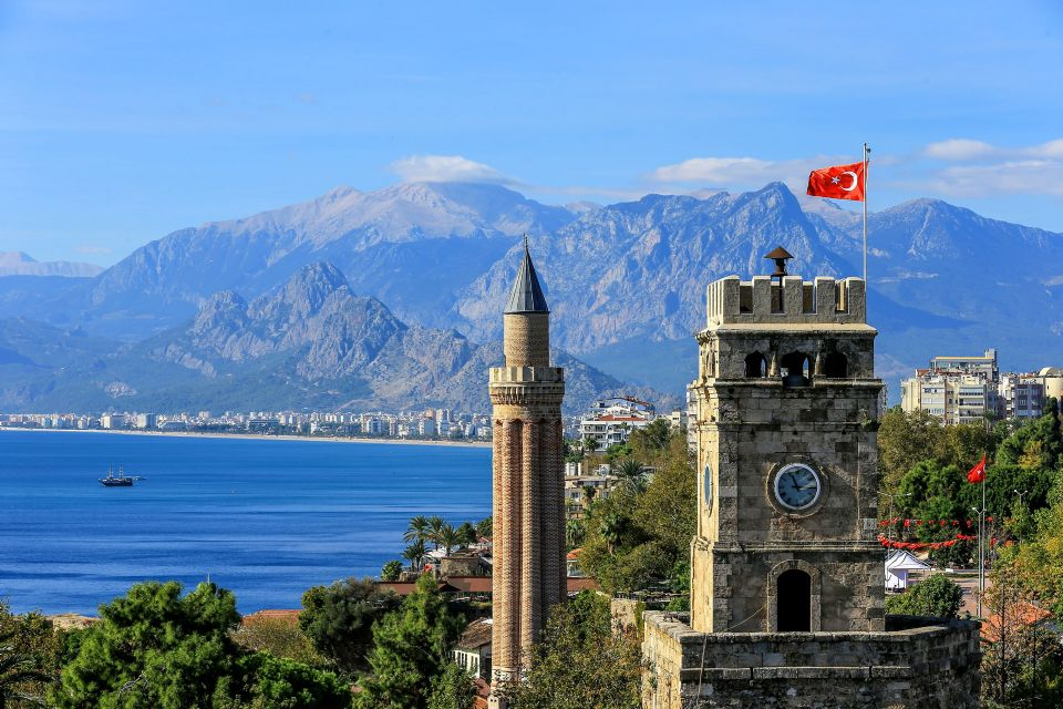View of Clock Tower, Taurus Mountains and Konyaalti Beach
